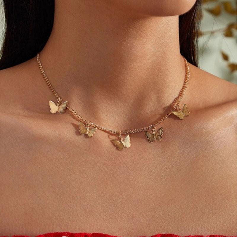 โซ่ทองจี้ผีเสื้อสร้อยคอ Choker ผู้หญิง คำชี้แจง Collares Bohemian Beach Jewelry Gift Collier ราคาถูก