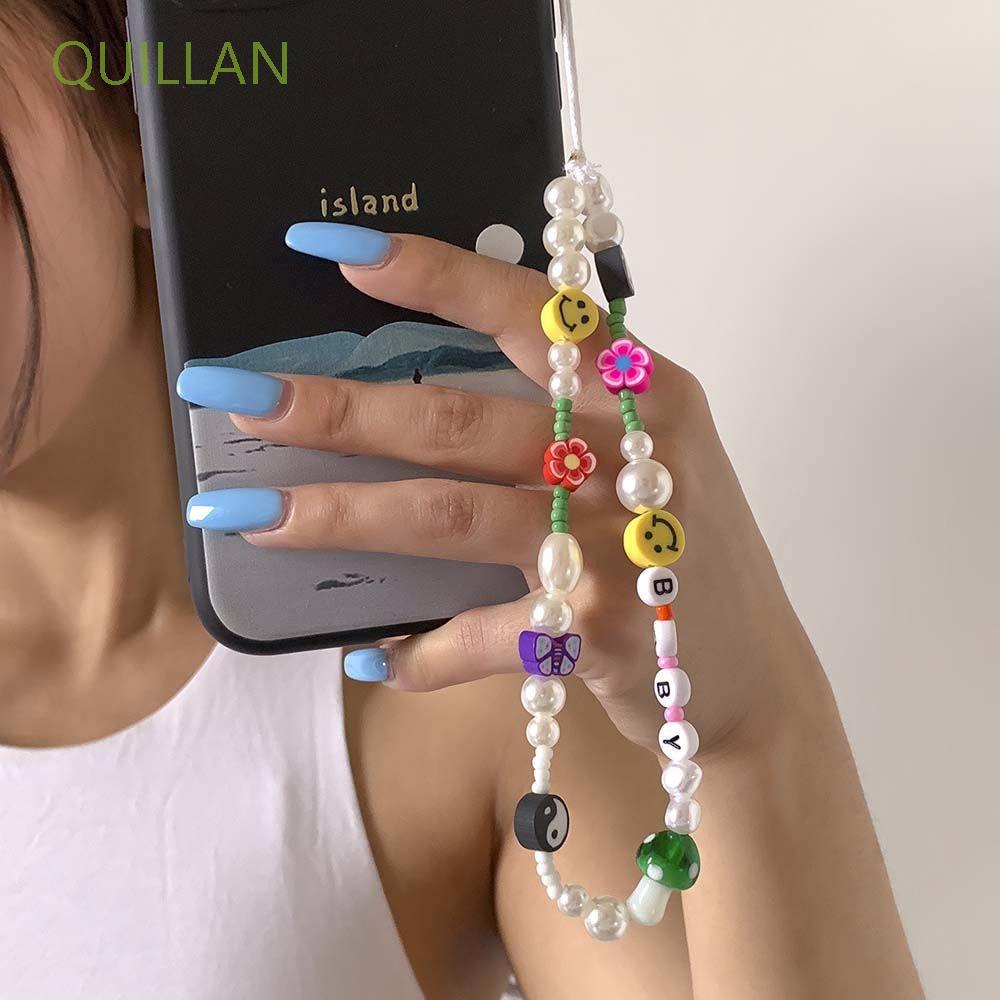 Quillan สายคล้องโทรศัพท์มือถือสายคล้องโทรศัพท์มือถือแบบแขวนลูกปัดหลากสี