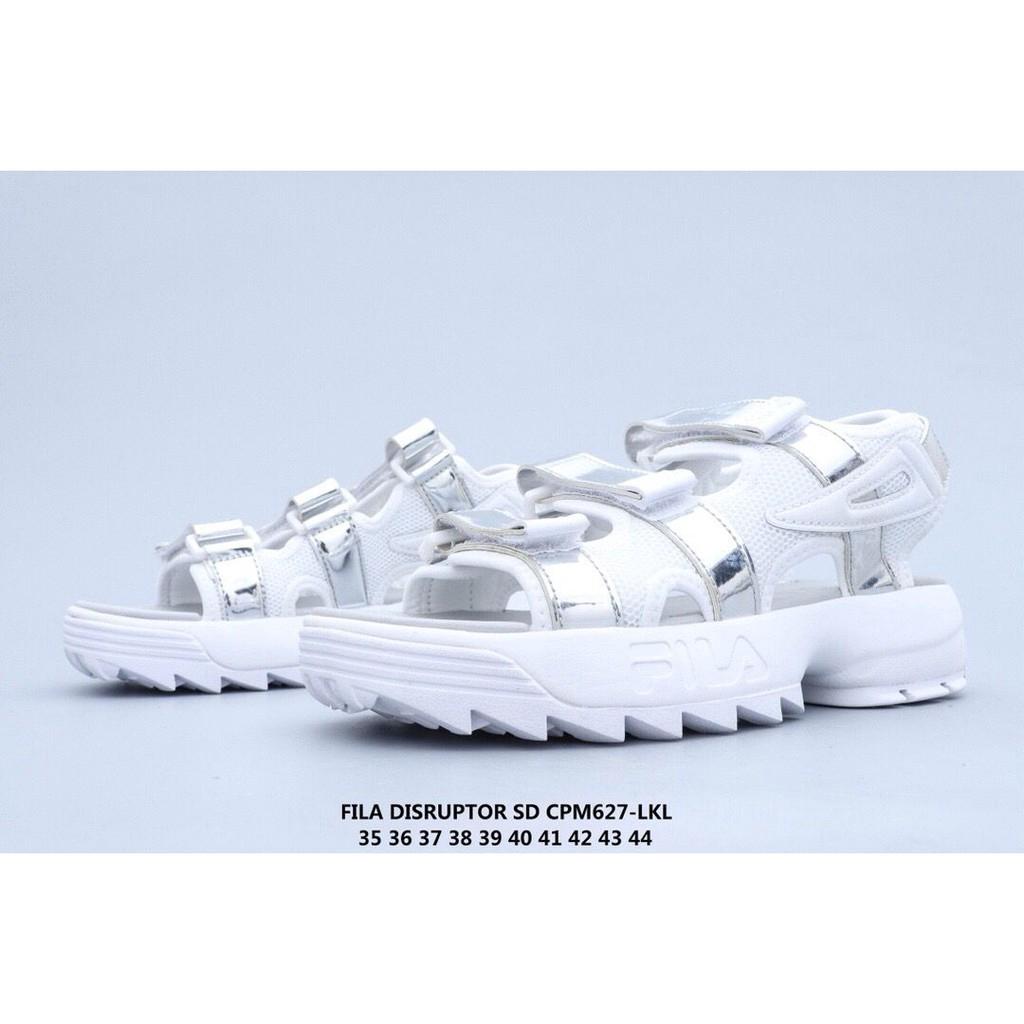 Fila Disruptor 2 รองเท้าแตะฤดูร้อน Fila ผู้หญิงผู้ชาย ALL White Sandal