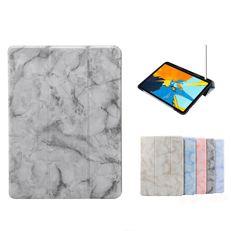 iPad Pro 11 2020 2018 10.2 2019 Flip Leather Case Marbling Apple Pencil Holder Anti-scratch Standable Protective Cover