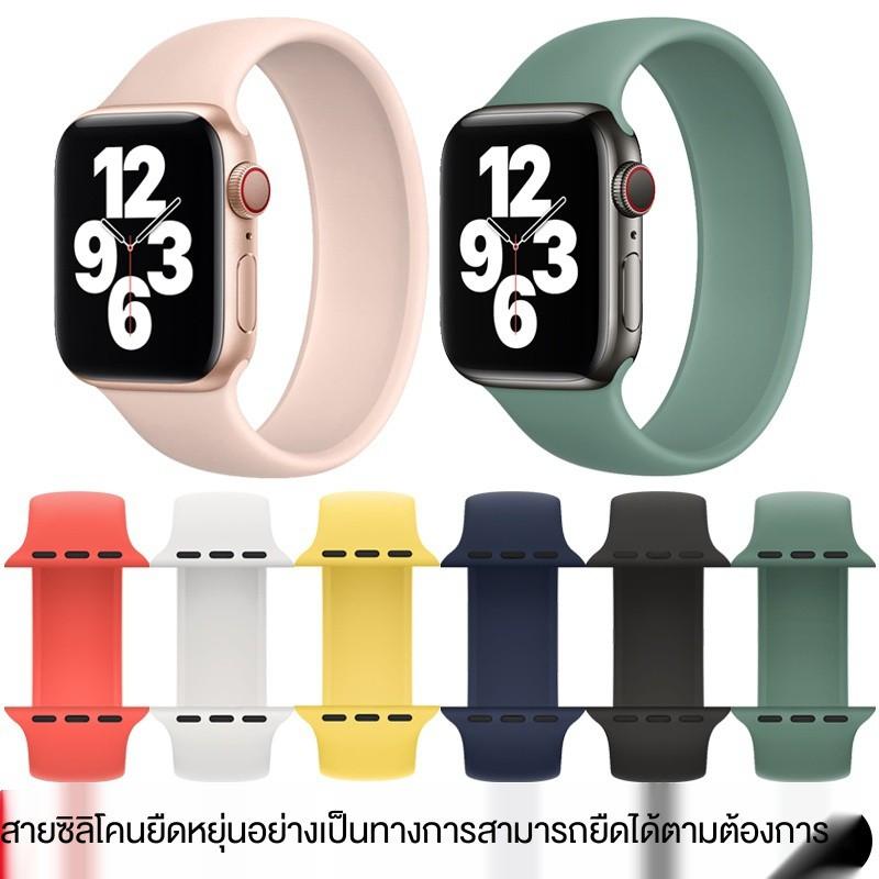 【สาย Apple】ใช้ได้กับ Apple applewatch6 สายเดี่ยวห่วงหนึ่งยางยืด iwatch นาฬิกา 5 / SE 4/3 รุ่นซิลิโคนอ่อน Series5 ยางย