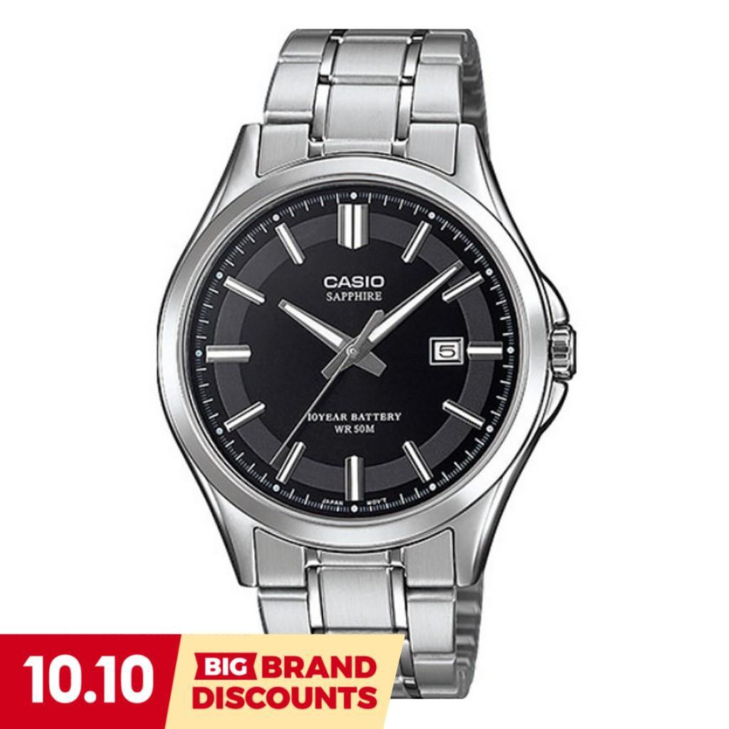 Casio Standard นาฬิกาข้อมือผู้ชาย สายสแตนเลส รุ่น MTS-100D,MTS-100D-1A,MTS-100D-1AV - สีเงิน-ดำ