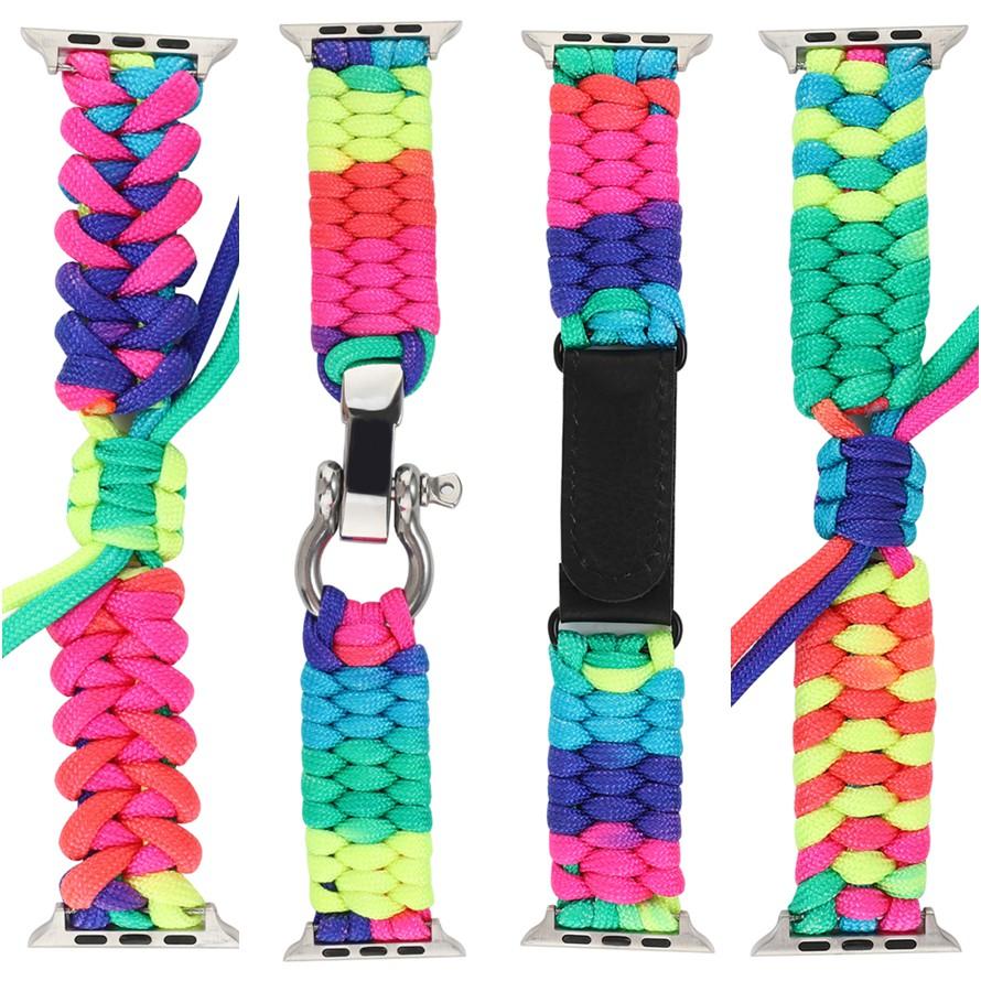 2021[KEMOKA009] แฟชั่น apple watch strap สายรัดเชือกสายรุ้ง  iwatch series SE 6 5 4 3 2 1 สาย applewatch 38 40 42 44mm