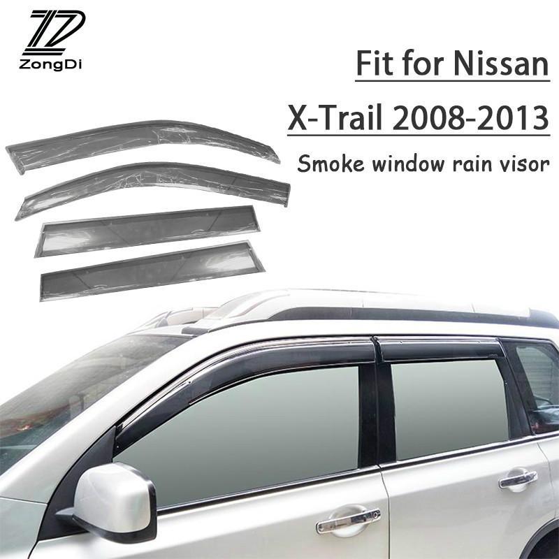 กันสาด/คิ้วกันสาด Nissan X-trail  2008-2013 โปร่งใสหนาขึ้น  1set ABS Rain Smoke Window Visor Car Wind Deflector For Nissan X-Trail T31 2008 2009 2010 2011 2012 2013 Accessories