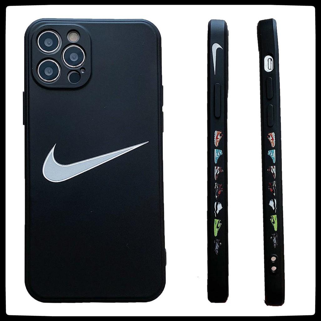 พิมพ์ลายทั้งสองด้าน เคส iPhone 12 Pro Max 12Pro เคสซิลิโคน ด้วยผ้าสักหลาด เคส iPhone 11 11 Pro 11 Pro Max soft case TIDE NIKE สีดำและสีขาวด้านล่าง iPhone12Pro ซิลิโคน iPhone12 11 XSMAX XR 7 + 8PLUS SE IX กรณีโทรศัพท์มือถือ