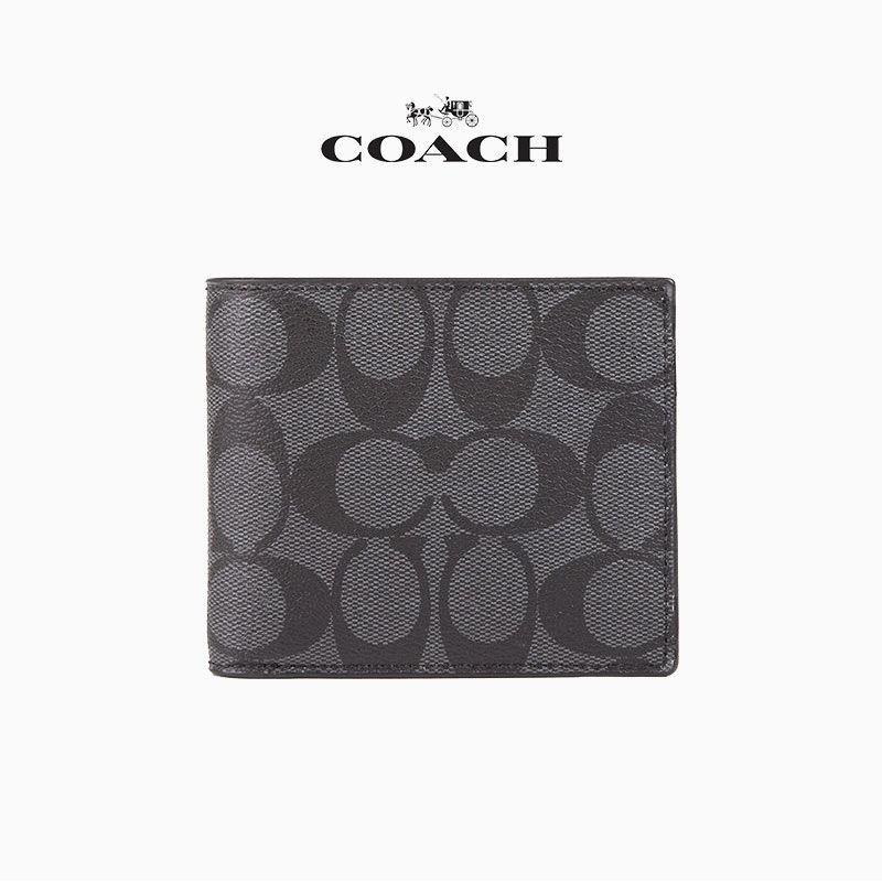 ∈COACH/Coach New Ole กระเป๋าสตางค์ใบสั้นผู้ชายแฟชั่นคลาสสิคลาย C 74993 25519