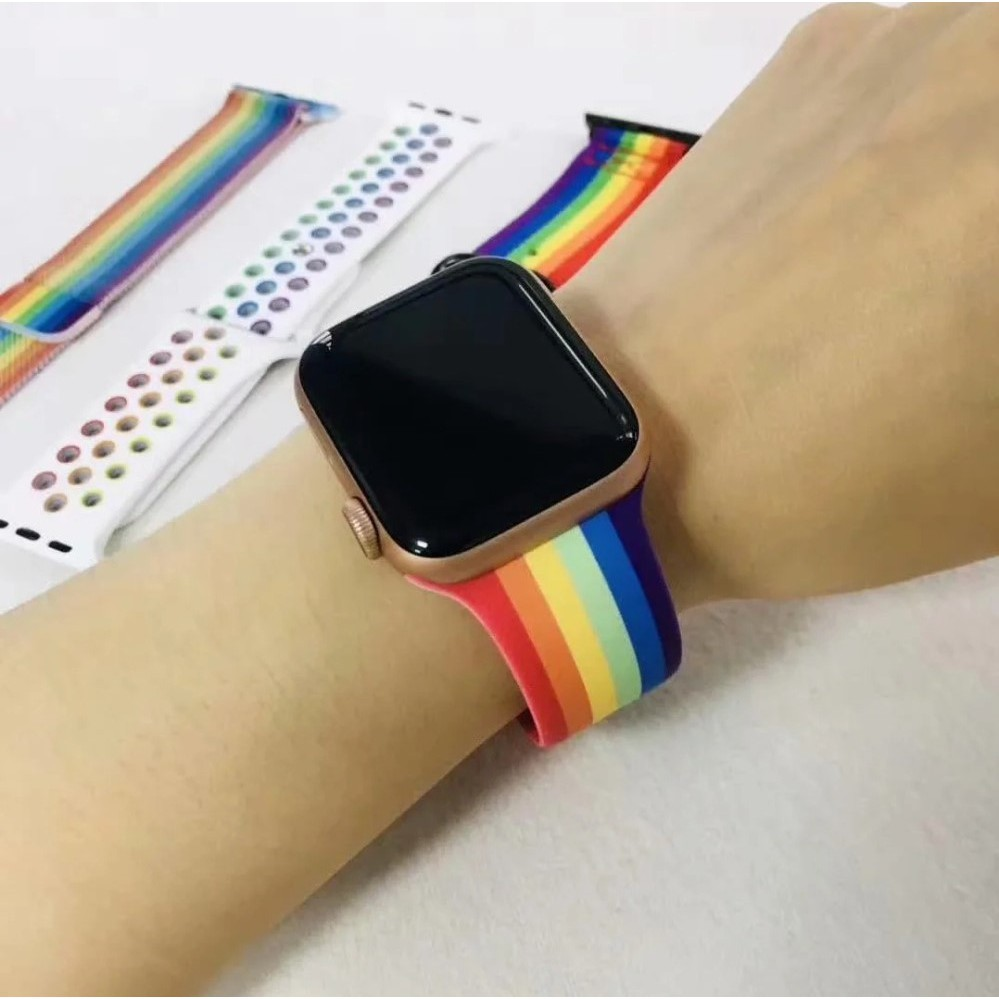 อุปกรณ์เสริมสมาร์ทวอทช์# [ส่งเร็ว สต๊อกไทย] สาย Apple Watch Pride Edition สายสีรุ้ง applewatch Sport Series 6 SE 5 4 3 ต