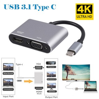 Review Type C USB 3.1 to HDMI 4K + VGA Adapter For Macbook