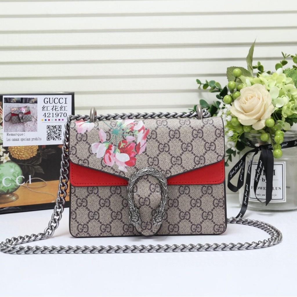 (เฉพาะจุด) ของแท้ 100% กระเป๋าผู้หญิง Gucci / Gucci Dionysus Small GG บุปผาแบคคัสกระเป๋าผู้หญิงกระเป๋าสะพายโซ่แนวทแยง