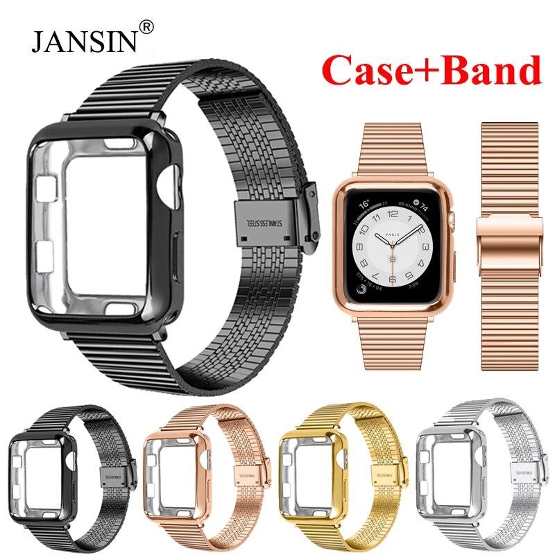 Watch strap + Apple watch case, 40mm, 44mm, 42mm and 38mm Apple watch luxury stainless steel strap, bracelet 6543