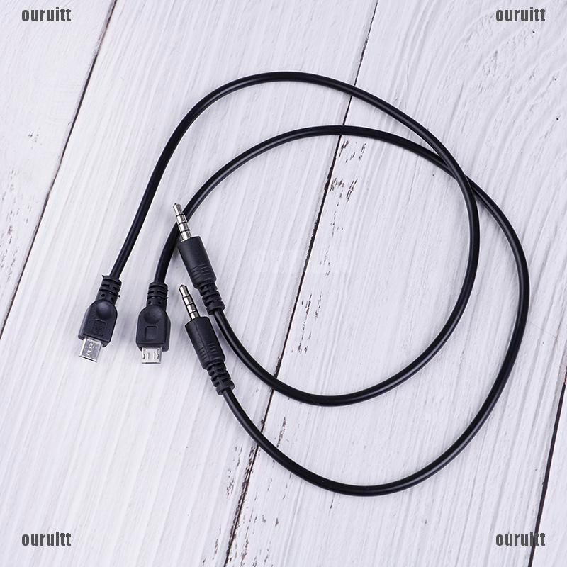 SP 2Pcs 3.5mm stereo male to micro USB male car AUX out cable for Android samsu