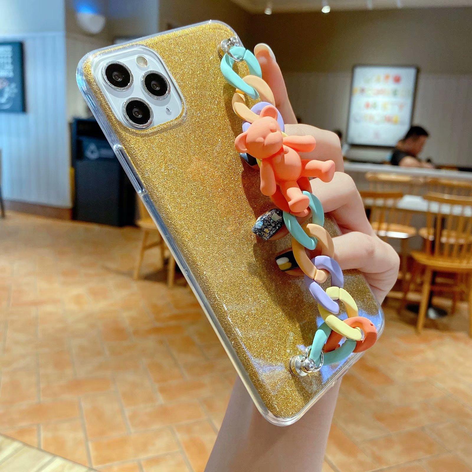 Samsung A7 A9 A5 A8 Plus A6 J3 J4 J6 J7 J8 J2 Pro 2018 A9S Glitter Case Cartoon Bear Bracelet เคสโทรศัพท์แบบนิ่ม