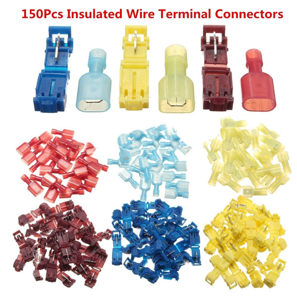 150X T-Taps//Male Insulated Terminal Connectors Combo Set 10-12+14-16+18-22 AWG