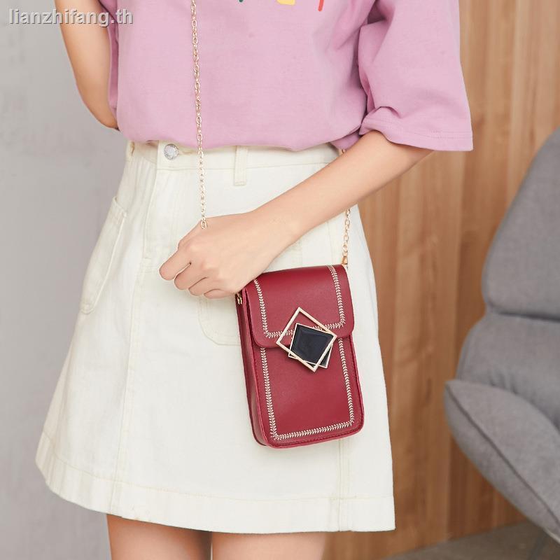 กระเป๋า bettyanello กระเป๋าสะพายข้างbag วินเทจcoach กระเป๋าคาดอกกระเป๋า mk▽﹍Japanese and Korean style small fresh contrast color mobile phone bag 2020 new chain square shoulder messenger ladies