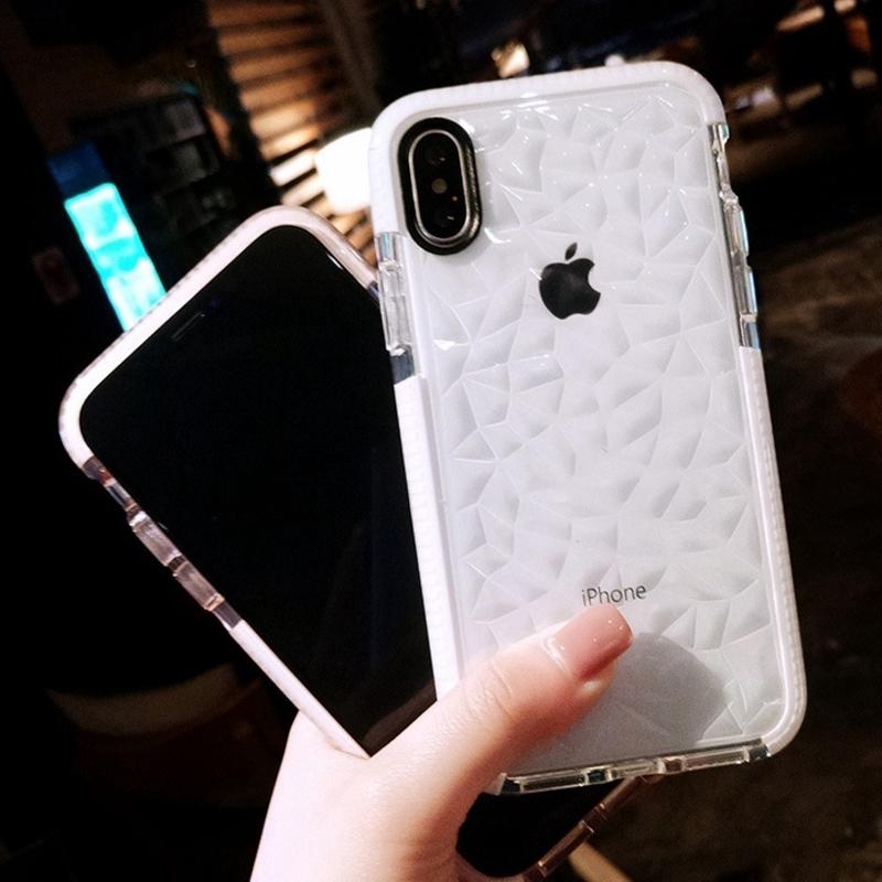 เคสโทรศัพท์มือถือ tpu สองชั้นลายเพชรสําหรับ iphone 6 6 s 7 8 plus xs max 11 pro