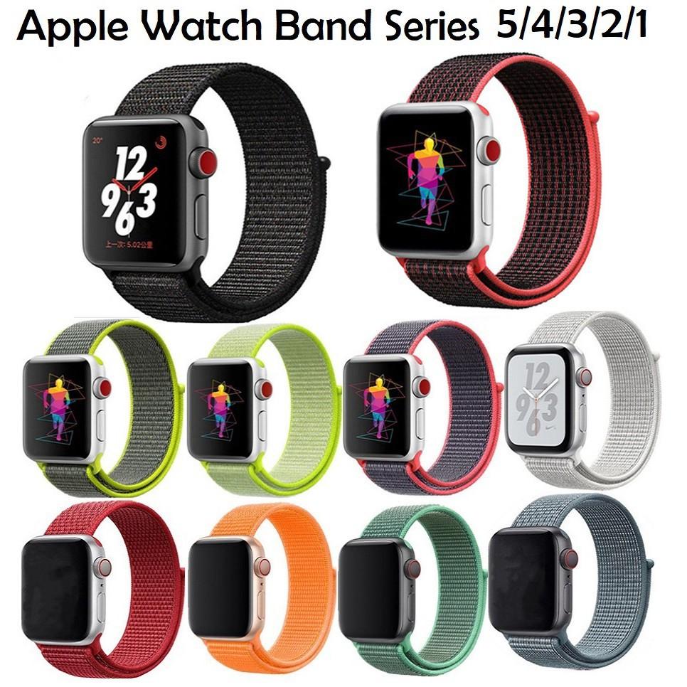 ♚สายนาฬิกา Apple Watch Series 6/5/4/3/2/1, Apple Watch SE Nylon Band Breathable Sport iWatch Strap Replacement Soft Loop