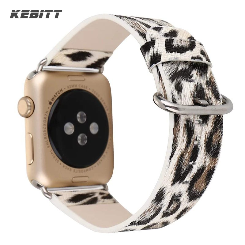 Kebitt Women Leather Band for Apple Watch 42mm 38mm 40mm 44mm Colorful Belt Strap Leopard Print Bands iWatch Series 5 4