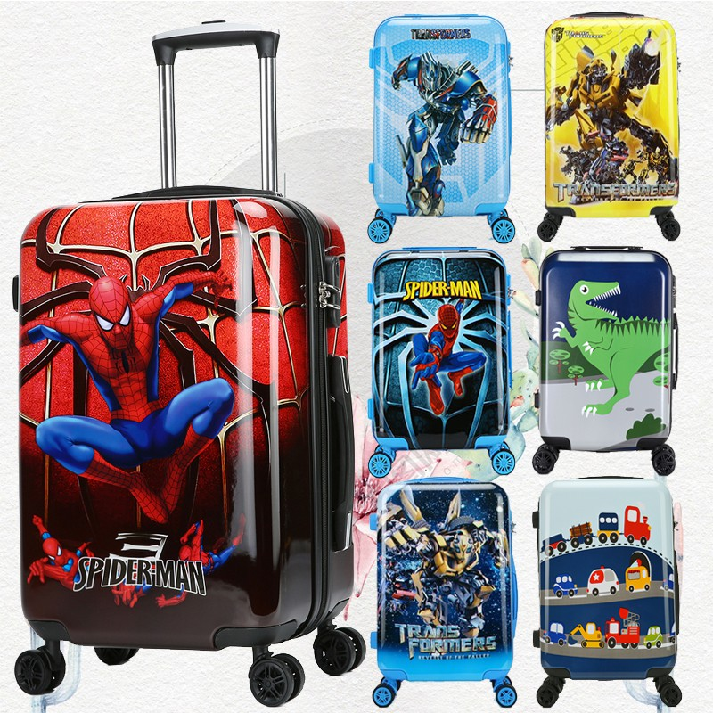 การ์ตูนเด็กรถเข็นกระเป๋าเดินทางกระเป๋าเดินทาง 18 นิ้ว 20 นิ้วเด็กกระเป๋าเดินทาง Spiderman สามารถนั่งเด็กกระเป๋าเดินทางเด