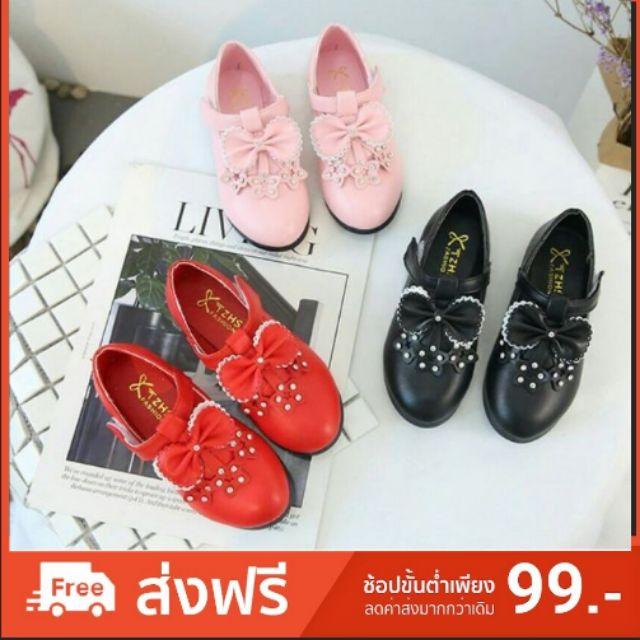รองเท้าคัชชูแต่งโบว์ มี 3 สี รองเท้าเด็ก