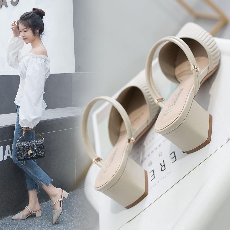 รองเท้าส้นสูง หัวแหลม ส้นเข็ม ใส่สบาย New Fshion รองเท้าคัชชูหัวแหลม  รองเท้าแฟชั่นรองเท้าแตะรองเท้าแตะผู้หญิงเซี่ยเฟยทอ