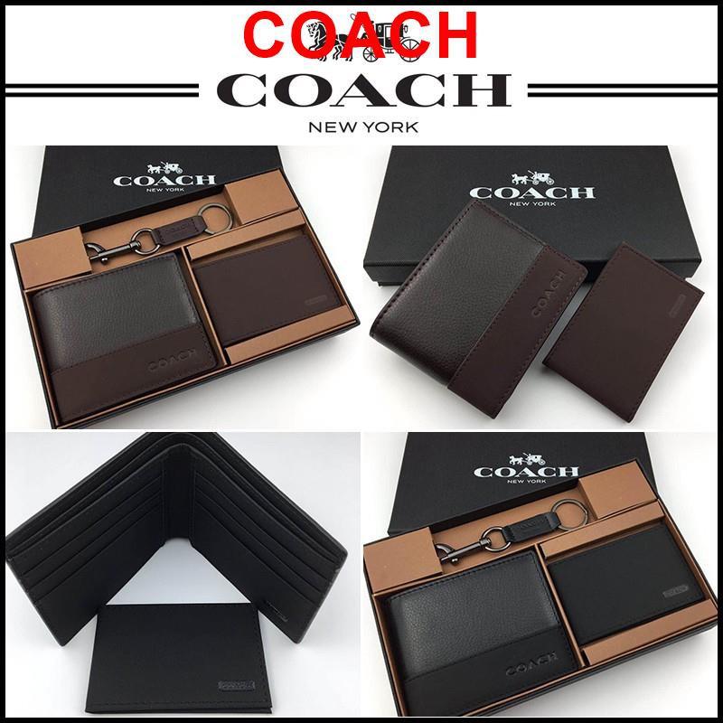 COACH กระเป๋าสตางค์ F74634 กระเป๋าสตางค์ coach กระเป๋าสตางค์ใบสั้น กระเป๋าสตางค์ผู้ชาย กระเป๋า ของแท้ 100%