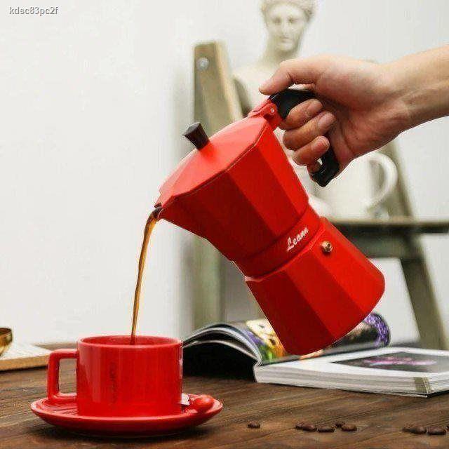 ห้องครัวและห้องอาหาร▬◑ↂเครื่องชงกาแฟ Moka pot เพื่อทำเครื่องใช้ไฟฟ้าในครัวเรือนชุดเครื่องชงกาแฟสไตล์อิตาเลี่ยนขนาดเล็กข