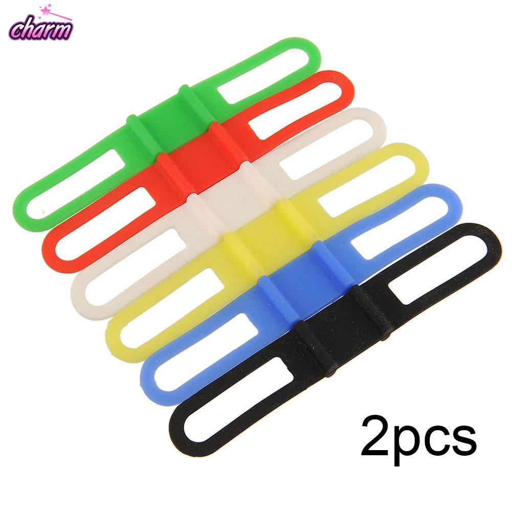 2pcs Cycling Bike Silicone Elastic Strap Bandage Holder For Light Phone Useful