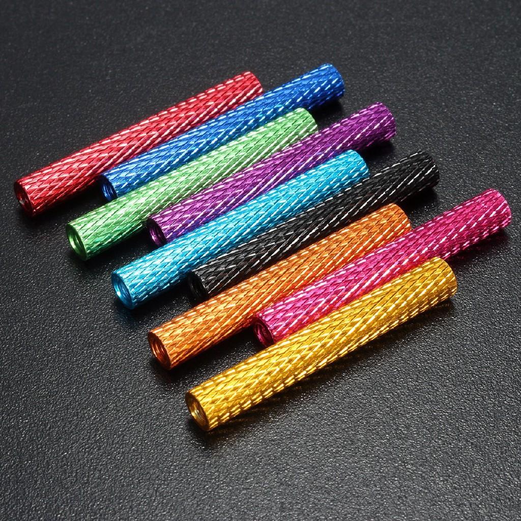 10Pcs M3 30mm Knurled Standoff Aluminum Alloy Multicolor Column Round Fastener