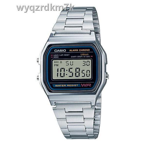 🔥ส่วนลด🔥Casio นาฬิกาข้อมือผู้ชาย สายสแตนเลส รุ่น A158WA-1DF - สีเงิน