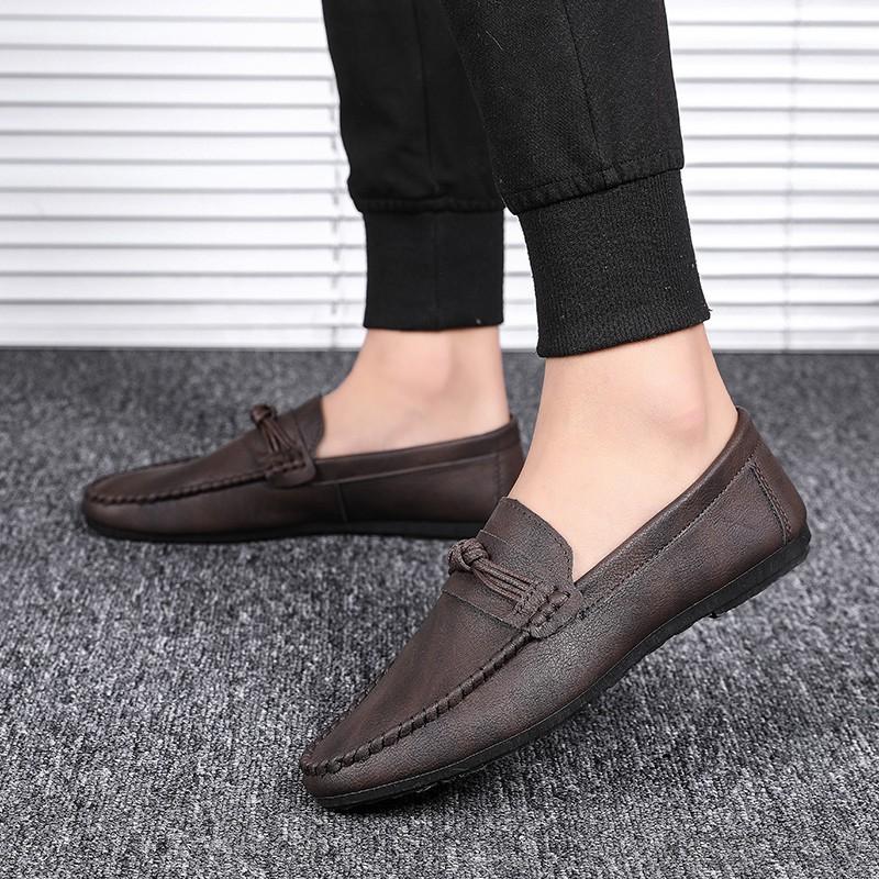 รองเท้าผู้ชาย รองเท้าหนังแบบสวม รองเท้าหนัง รองเท้าคัชชูสีดำ รองเท้าผู้ชาย slip ons