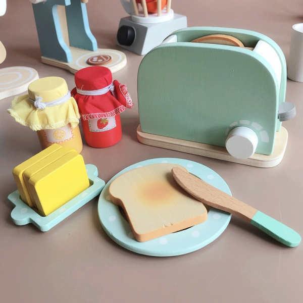 เครื่องชงกาแฟ บ้านไม้เด็กเล่นของเล่นเครื่องทำขนมปังเตาอบกาแฟเด็กเล่นบ้านครัวของเล่นเด็กผู้ชายและเด็กผู้หญิง
