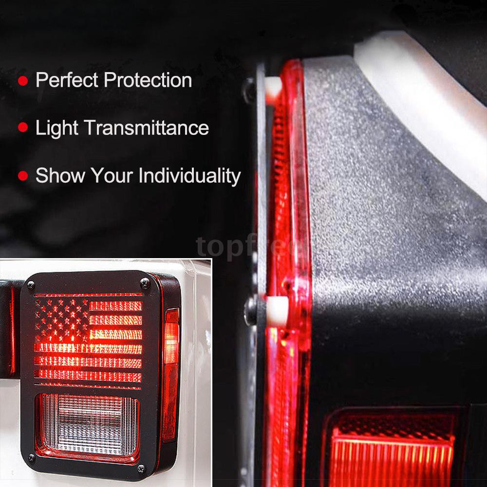 Pair Rear Tail Light Cover Guard American Flag Fit for 07-18 Jeep Wrangler JK