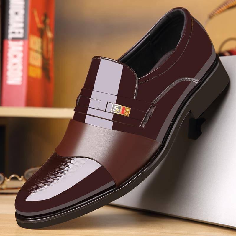 รองเท้าชาย รองเท้าคัชชูผู้ชาย รองเท้าหนังผู้ชายใส่ทำงานอย่างเป็นทางการรองเท้าอังกฤษรุ่นเกาหลีของเท้ารองเท้าหนังลำลองสีดำ