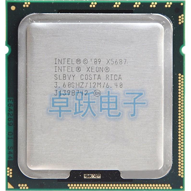 Lot of 2 Intel Xeon X5687 3.6 GHz 12 MB Quad-Core Socket 1366 CPU Processor