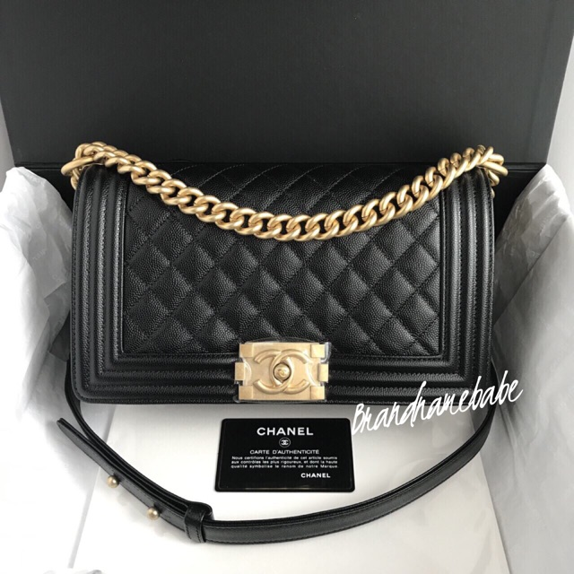 "New Chanel Boy 10"" black caviar"
