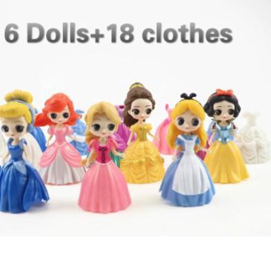 ฟิกเกอร์เจ้าหญิง 6 Figure 18 Dress สําหรับตกแต่งหน้าเค้ก Wc903