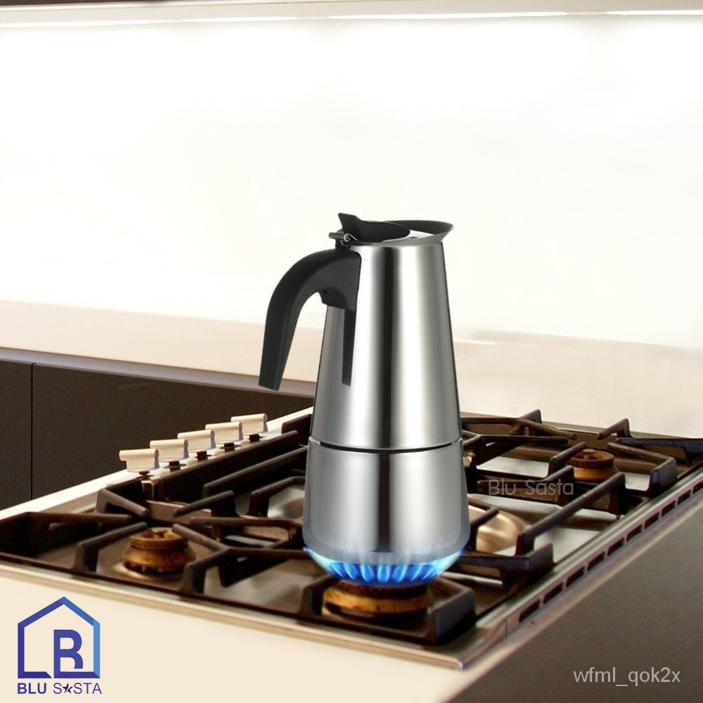 Blu Sasta กาต้มกาแฟสดพกพาสแตนเลส ขนาด 6 ถ้วยเล็ก 300 มล. หม้อต้มกาแฟแรงดัน เครื่องทำกาแฟสด โมก้าพอท มอคค่าพอท moka pot f