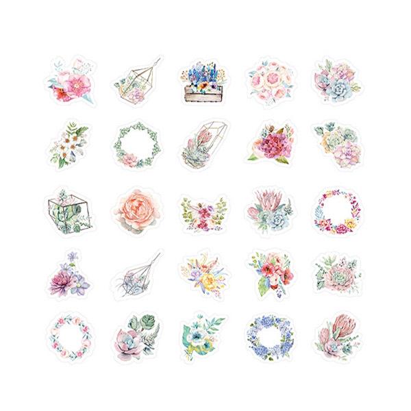 สติ๊กเกอร์ลายดอกไม้สำหรับติดตกแต่งสมุด 46 ชิ้น