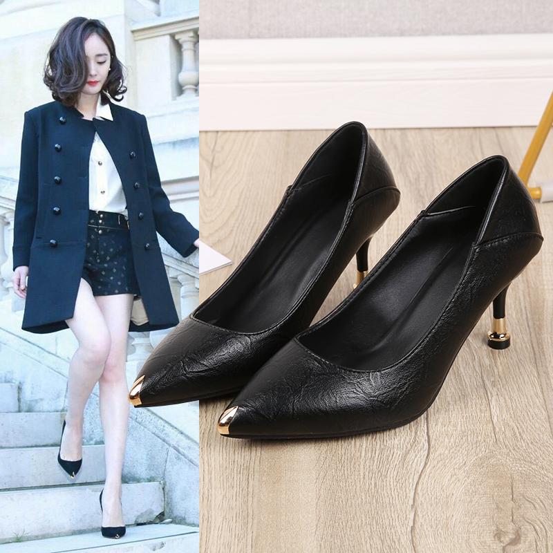 รองเท้าคัชชูหัวแหลม หนังนิ่มรองเท้าทำงานสบายหญิงสีดำชี้รองเท้าขนาดเล็กกริชรองเท้ามืออาชีพรองเท้าส้นสูงหญิงสองสวมใส่รองเท