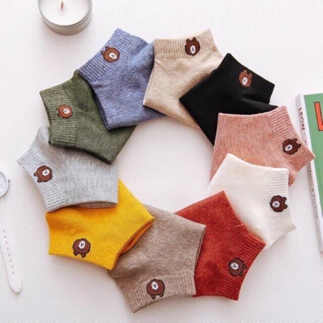 ถุงเท้าข้อสั้นผู้หญิง ลายหมี เลือกสีได้ สั่ง 10 คู่แถมถุงหมี พร้อมส่ง