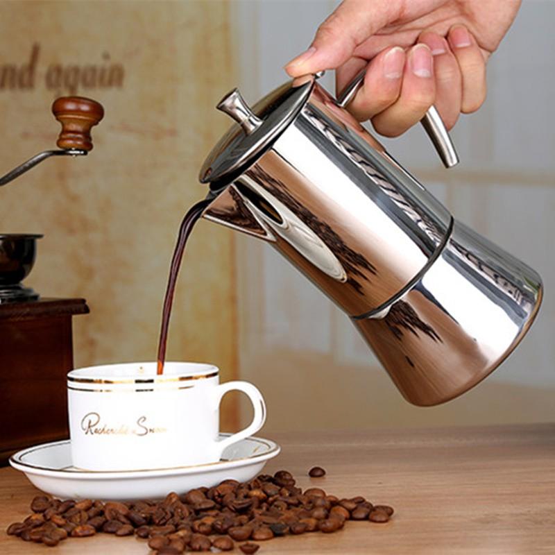 ソ✈หม้อกาแฟไฟฟ้าเครื่องชงกาแฟมือจัดส่งฟรีหม้อกาแฟสแตนเลส 304 moka pot, เตาแม่เหล็กไฟฟ้าเพื่อทำกาแฟ, ส่งกระดาษกรอง, หม้อ m
