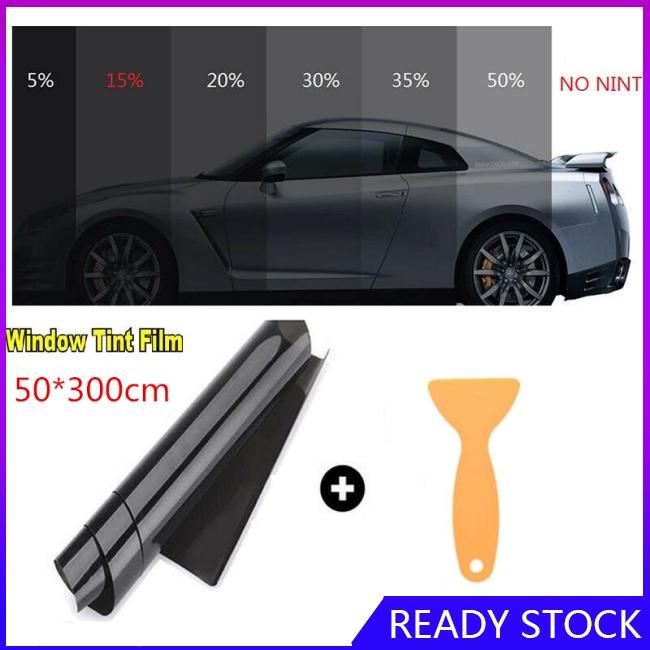 BEST QUALITY LIGHT BLACK 25/% CAR WINDOW TINT FILM KIT 50CM x 6M FULL TOOLS