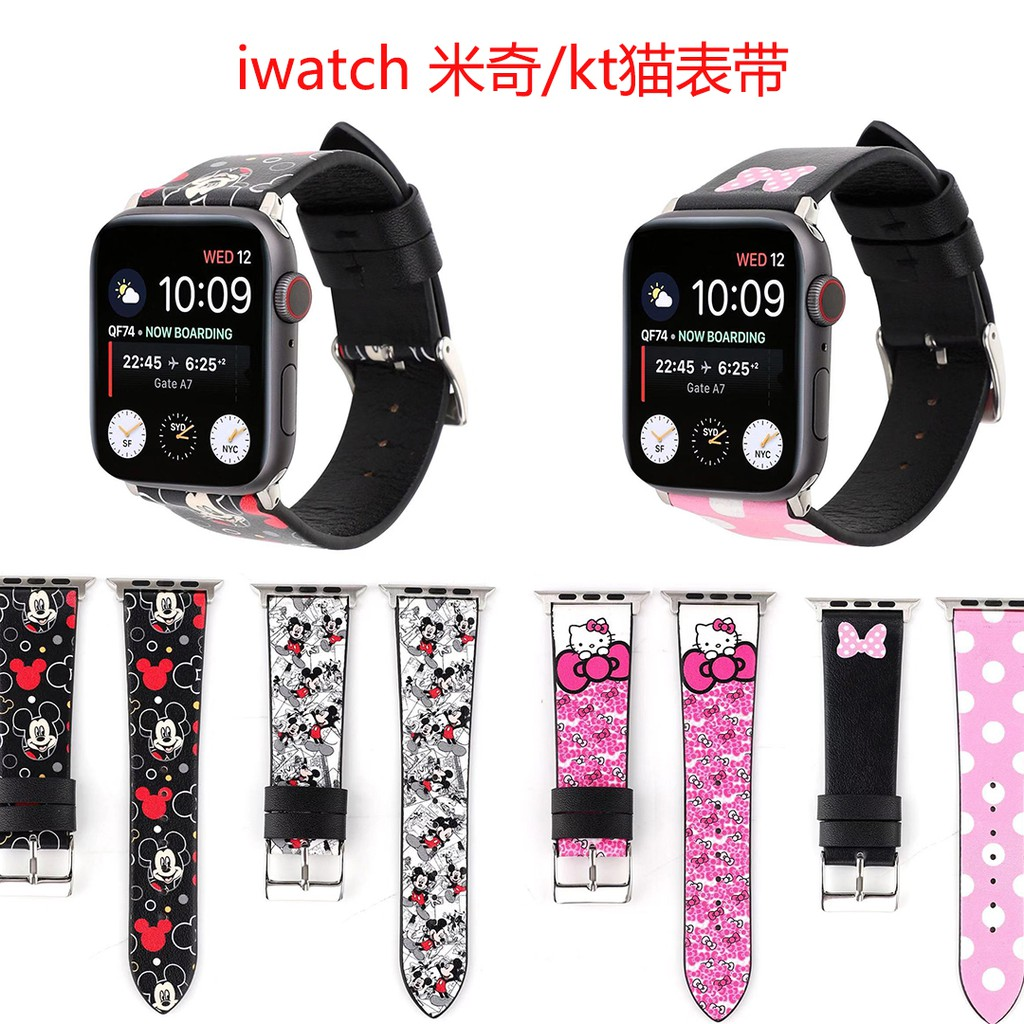 Apple Watch strap iwatch Suitable for Apple Series5 watch leather Mickey strap iwatch1/2/3/4 generation cartoon KT cat w
