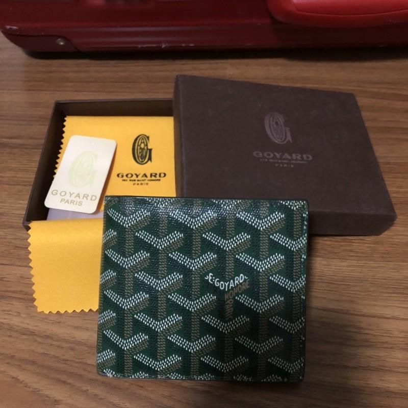 used Goyard bifold wallet สีเขียวเหนี่ยวทรัพย์