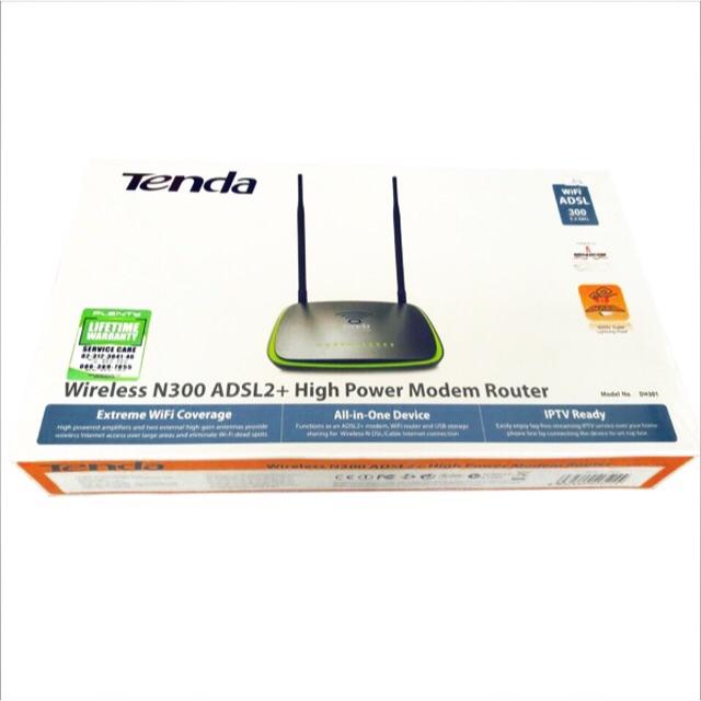 Tenda Wireless N300 ADSL2 High Power Modem Router 4 port