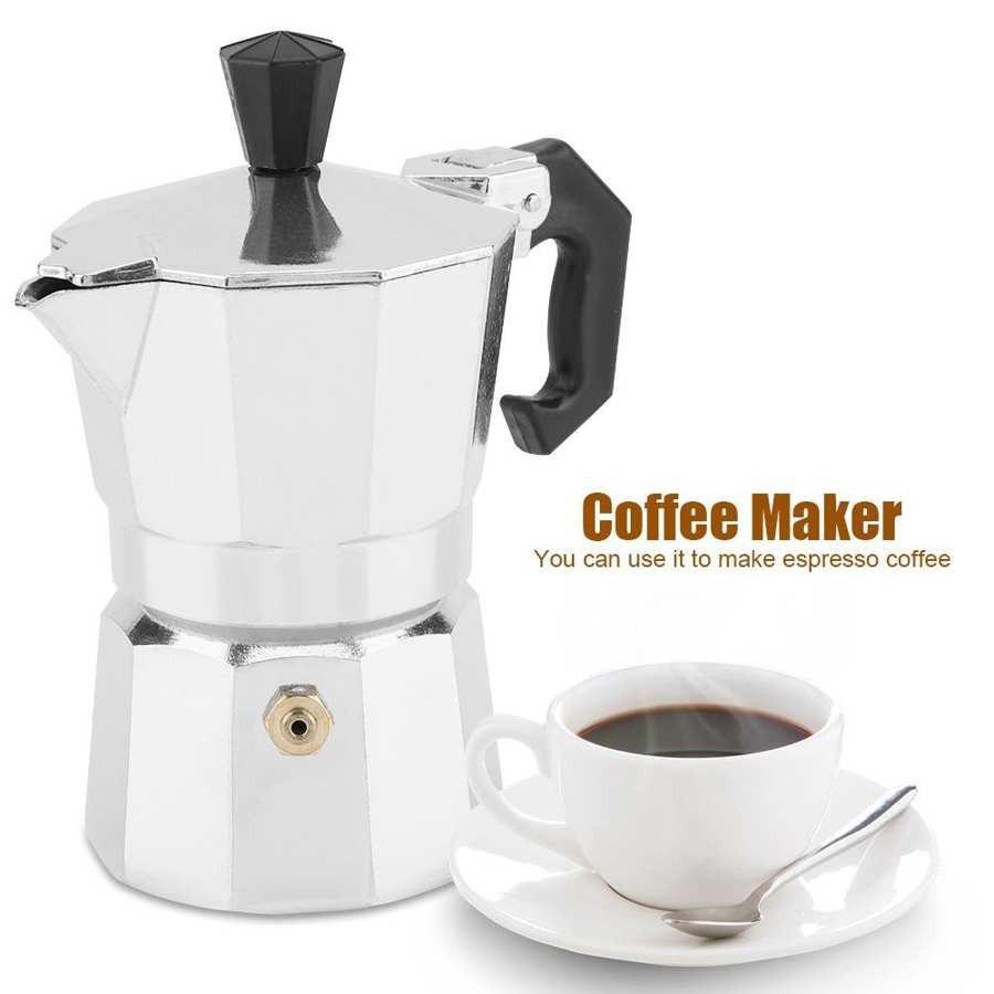 เครื่องชงกาแฟแคปซูล moka pot เครื่องชงกาแฟสด หม้อต้มกาแฟ กาแฟสด moka pot 1-3 cup โมก้าพอต เครื่องทำกาแฟพกพา coffee maker