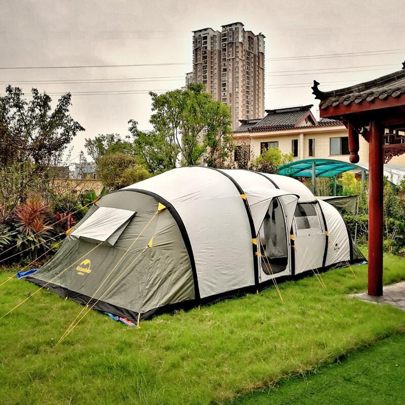 NatureHikeNuo Ke สี่ห้องหนึ่งห้องโถงหนอนเต็นท์พองกลางแจ้งหลายกลุ่มเต็นท์ขนาดใหญ่6-8-10ห้องนอน 2 ห้องและห้องนั่งเล่น 1 ห้