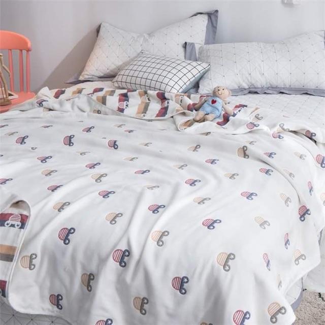 ผ้าห่มสาลูทอ 6 ชั้น ขนาด 5 ฟุต 2 ด้าน 2 สี