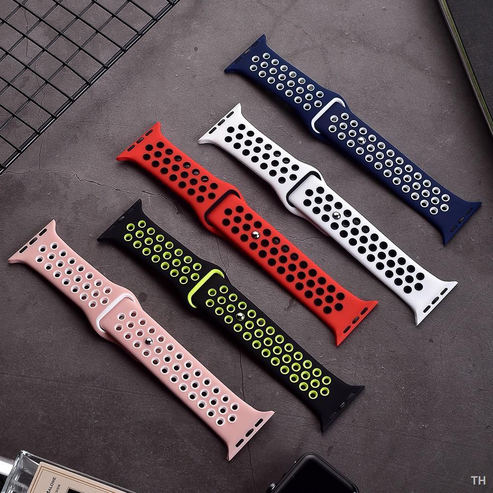 การเคลื่อนไหวﺴ❏[ส่งเร็ว สต๊อกไทย] สาย Apple Watch Nike Sport Band สายซิลิโคน สำหรับ applewatch Series 6 5 4 3 ตัวเรื่อน