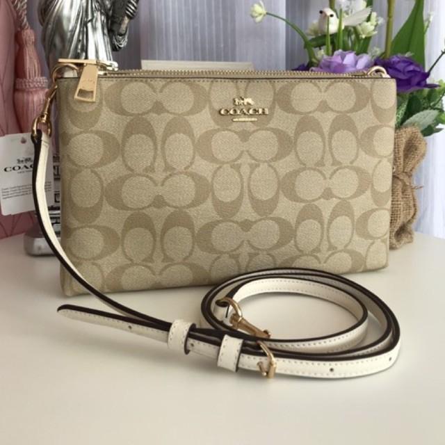 (ผ่อน0%) กระเป๋า สะพายข้าง crossbody 2 zip สี่เหลี่ยม สีขาว Coach F58328 Lyla Double Zip Signature Crossbody Bag
